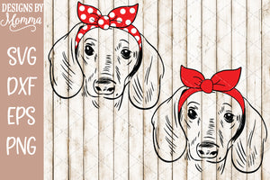 Dachshund Girl with Solid and Polka Dot Bow Headband SVG DXF EPS PNG