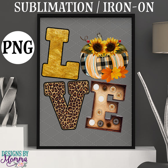 LOVE Fall Pumpkin (BLANK no name) Sublimation Iron on Printable PNG