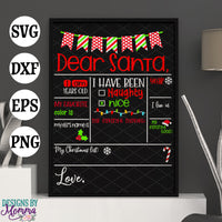 Dear Santa Personalized Customized Chalkboard Sign SVG DXF EPS PNG