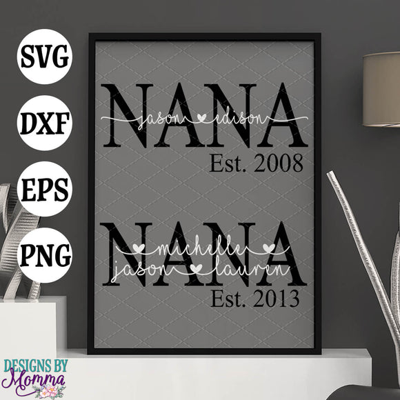 Custom NANA with childrens names and year SVG DXF EPS PNG
