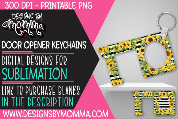 Door Opener Keychain Sunflowers Sublimation Design