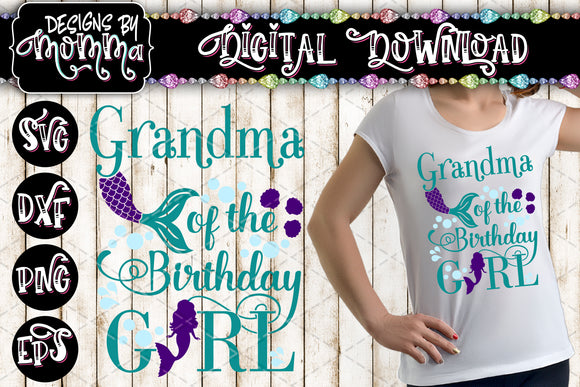 Birthday Girl Mermaid Family Volume 2 SVG DXF EPS PNG