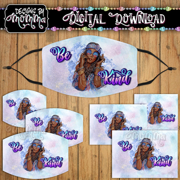 Be Kind Hippie AA Face Cover Mask PNG Sublimation Design