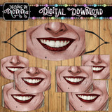 Witch Sisters Mouth Face Cover Mask PNG Sublimation Design