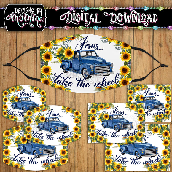 Jesus take the Wheel Blue Truck Sunflower Floral Face Cover Mask PNG Sublimation Design