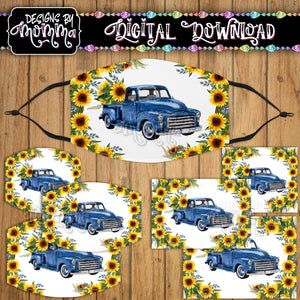 Blue Truck Sunflower Floral Face Cover Mask PNG Sublimation Design