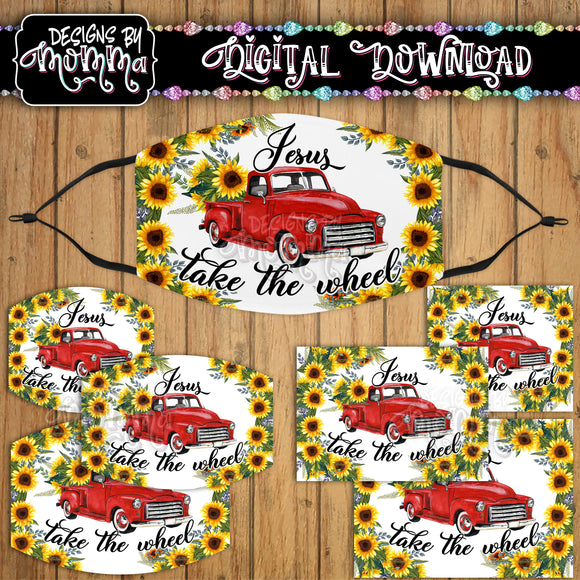 Jesus take the Wheel Red Truck Sunflower Floral Face Cover Mask PNG Sublimation Design