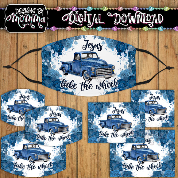 Jesus take the Wheel Blue Truck Floral Face Cover Mask PNG Sublimation Design