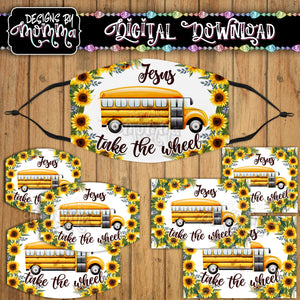 Jesus take the Wheel Bus Sunflower Face Cover Mask PNG Sublimation Design