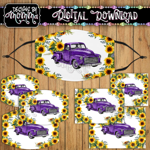Purple Truck Sunflower Floral Face Cover Mask PNG Sublimation Design