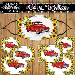 Red Truck Sunflower Floral Face Cover Mask PNG Sublimation Design