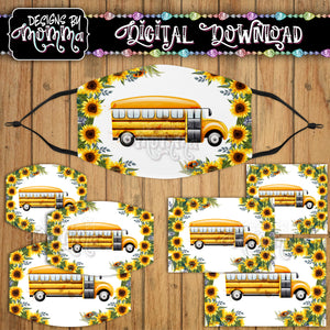 Bus Sunflower Face Cover Mask PNG Sublimation Design