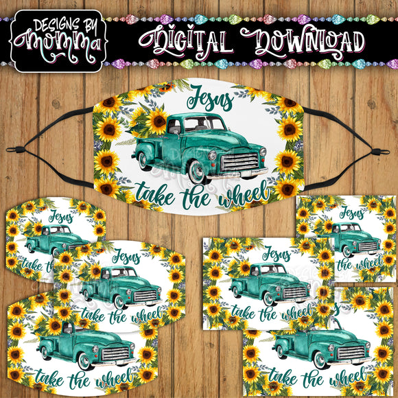 Jesus take the Wheel Turquoise Truck Sunflower Floral Face Cover Mask PNG Sublimation Design
