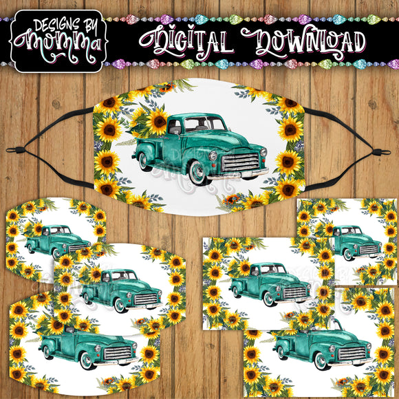 Turquoise Truck Sunflower Floral Face Cover Mask PNG Sublimation Design