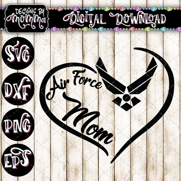 Air Force Mom Heart SVG DXF EPS PNG