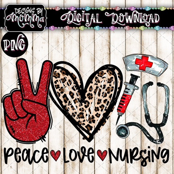 Peace Love Nursing Red Medical Professions Sublimation PRINTABLE PNG