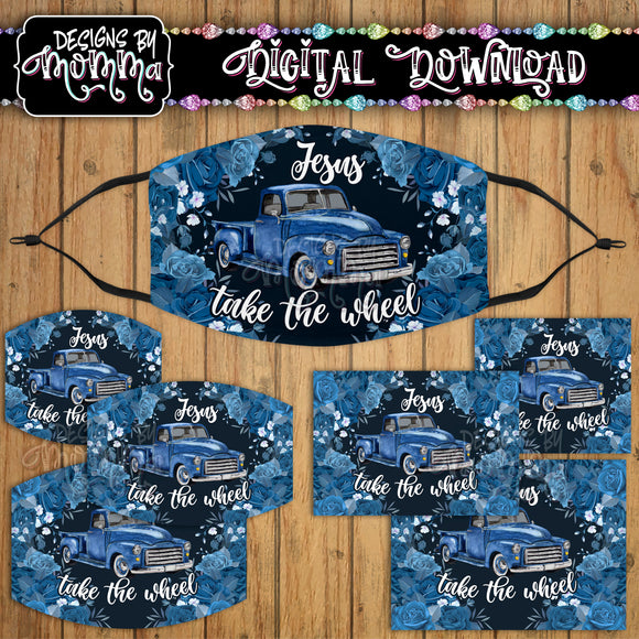 Jesus take the Wheel Blue Truck on Navy Floral Face Cover Mask PNG Sublimation Design