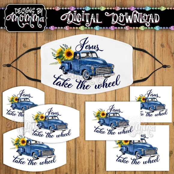 Jesus take the Wheel Blue Truck Sunflower Face Cover Mask PNG Sublimation Design
