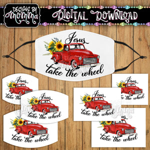 Jesus take the Wheel Red Truck Sunflower Face Cover Mask PNG Sublimation Design