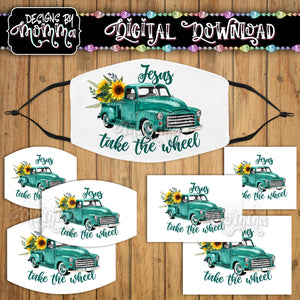 Jesus take the Wheel Turquoise Truck Sunflower Face Cover Mask PNG Sublimation Design