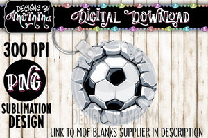 Soccer Breaking Wall Circle Keychain Sublimation Design
