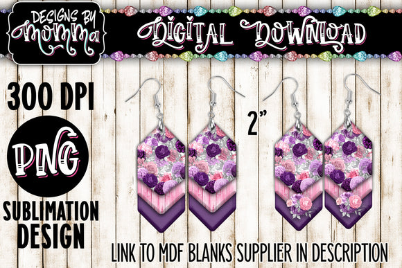 Pink Purple Floral Cascade Earring Sublimation Design