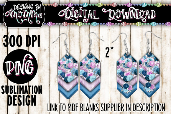 Blue Lavender Purple Floral Cascade Earring Sublimation Design