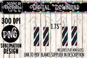 Blue Pink Stripes on Black Bar Earring Sublimation Design