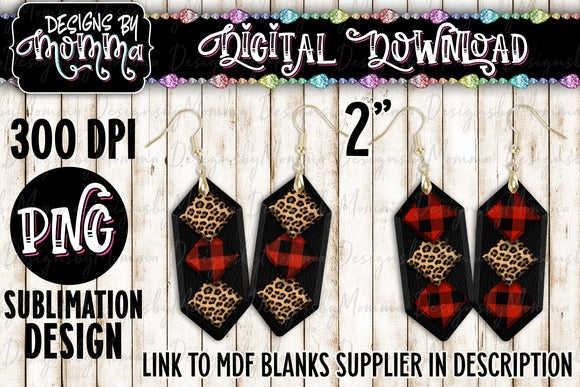 Buffalo Red Plaid Leopard Squares Cascade Earring Sublimation Design
