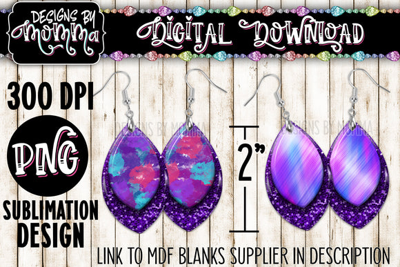 Purple Glitter Paint Leaf 2 inch Earring Sublimation Design