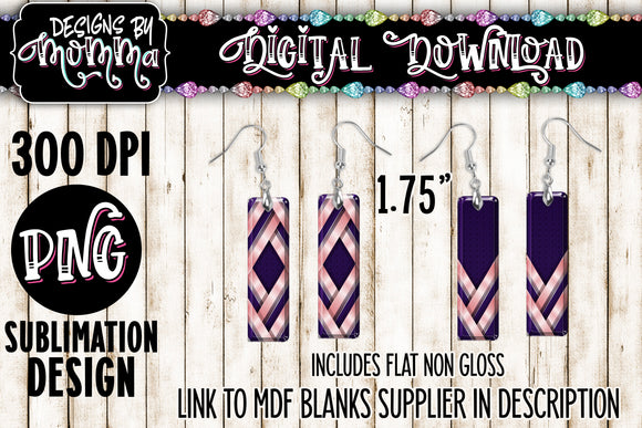 Pink Purple Laces Bar Earring Sublimation Design