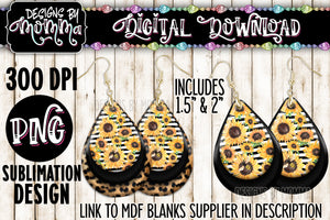 Sunflowers and Leopard Teardrop Earring Sublimation Design