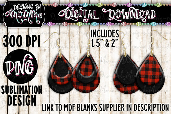 Buffalo Red Plaid Black Teardrop Earring Sublimation Design