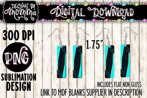 Turquoise Black Bar Earring Sublimation Design