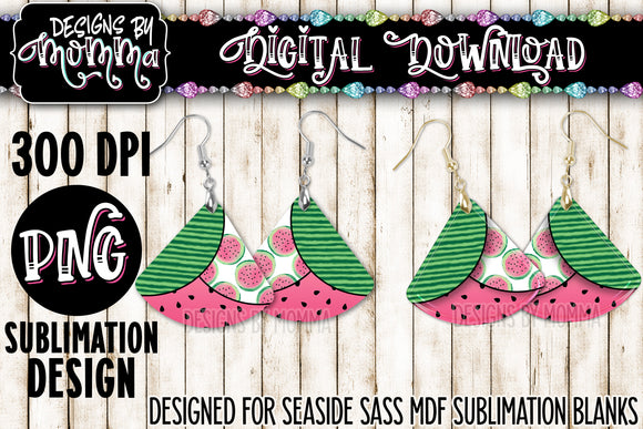 3 Pattern Tier Watermelon Fan Earring Sublimation Design