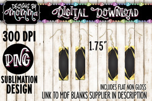 Yellow Black Stripes Bar Earring Sublimation Design