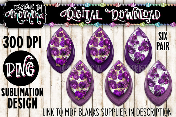 Purple Flowers - 6 Pair Leaf Earring Sublimation Design