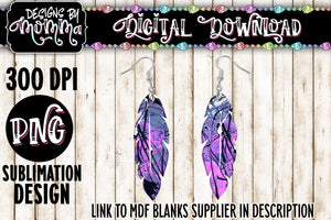 Ink Paint Purple Pink Feather Earring Sublimation Design
