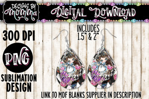Alice Cartoon Teardrop Earring Sublimation Design