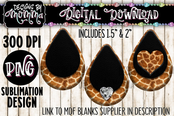 Giraffe Pattern with Black in 3 Styles Teardrop Earring Sublimation Design