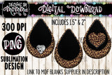 Leopard Pattern with Black in 3 Styles Teardrop Earring Sublimation Design