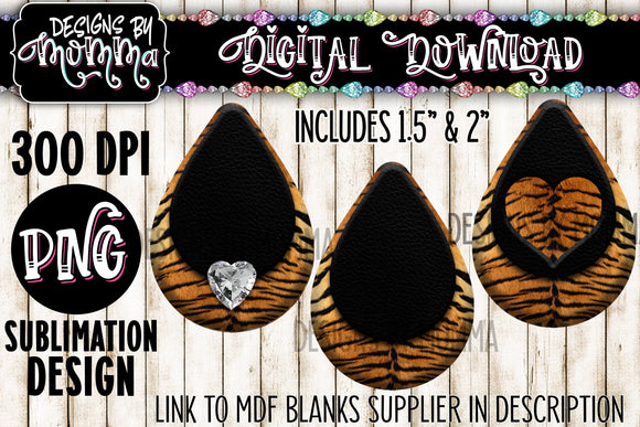 Tiger Pattern with Black in 3 Styles Teardrop Earring Sublimation Design