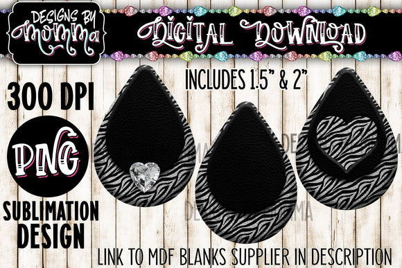 Zebra Pattern with Black in 3 Styles Teardrop Earring Sublimation Design