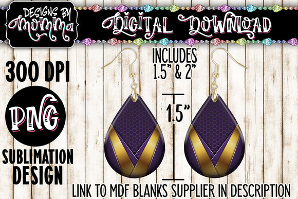 Purple Gold V Teardrop Earring Sublimation Design