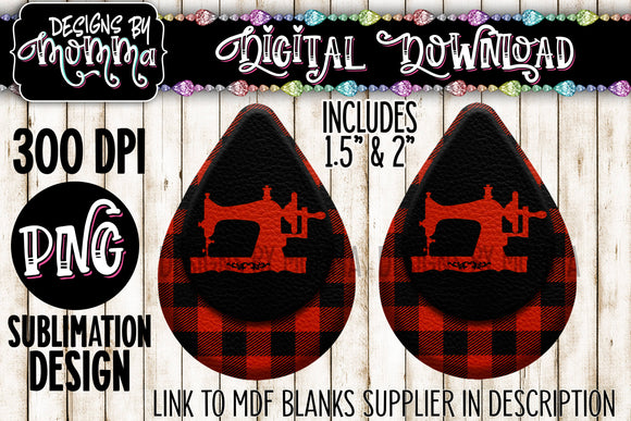 Sewing Machine Red Black Plaid Teardrop Earring Sublimation Design