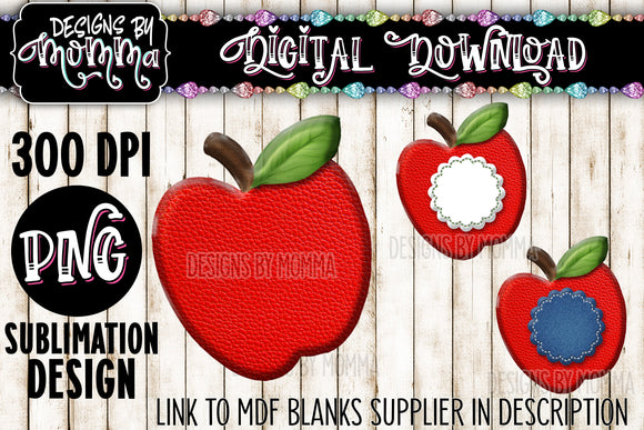 Apple Plain with Frames Straw Buddy / Badge Reel Sublimation Design