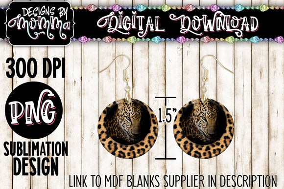 Leopard Face Fade Circle 1.5 inch Earring Sublimation Design