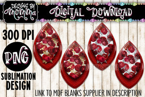 Red Flowers 4 Pair Leaf Earring Sublimation Design