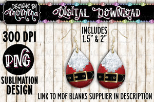Santa Belt Christmas Teardrop Earring Sublimation Design