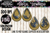 Navy Blue Gold Swirl Teardrop Earring Sublimation Design